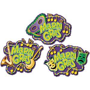 Mardi Gras Colorful Festive Cutouts Party Decorations