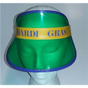 Transparent Mardi Gras Fat Tuesday Visor Purple Green Yellow Hat
