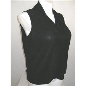 Josephine Chaus Size 1X Sleeveless Cowl Neck Top w/Metallic Thread Black Shimmer
