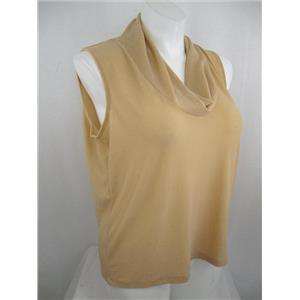 Josephine Chaus Size 1X Sleeveless Cowl Neck Metallic Thread Top-Toasted Shimmer