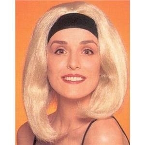 California Blonde Beach Bunny Shoulder Length Wig with Attached Black Headband