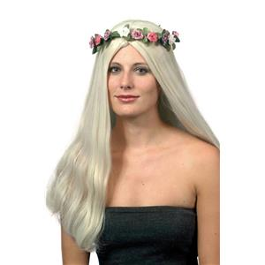60's Titania Long Blonde Hippie Wig with Flower Halo Headdress