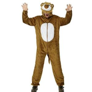 Smiffys Mens Lion Adult Costume Jumpsuit with Hood