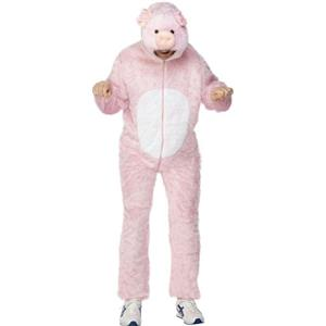 Smiffys Mens Pig Adult Costume Jumpsuit with Hood