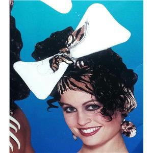 Cavewoman Animal Print Hat with Attached Black Curly Hair Caveman Bone Headpiece