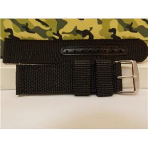 Military Black 20mm Wide Nylon Stitch Reinforced Strap w/Pins.Washable Watchband