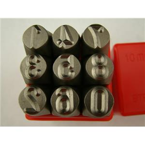 "3/8"" 10MM 9 Number Punch Stamp Set Metal-Steel-Die-Hand-Trailer-Serial-Big"