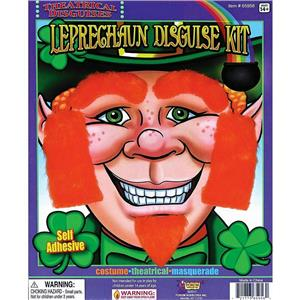 Leprechaun Facial Hair Disguise Kit Eyebrows Sideburns and Goatee St. Patty's