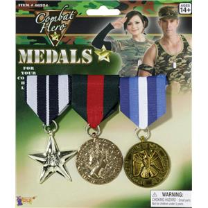 Combat Hero Military Medals Costume Accessory