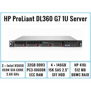 HP ProLiant DL360 G7 1U Server 2×Six-Core Xeon 2.66GHz + 32GB RAM + 4×146GB 15K