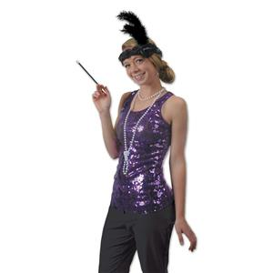 20's Black Flapper Headband & Beads Set Costume Accessory Kit
