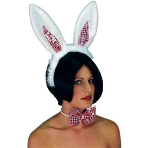 Sequined Bunny Rabbit Ears and Bow Tie Easter Costume Accessory Set