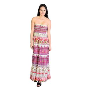 M Romeo & Juliet Couture Strapless Shirred Bust Paisley Tiered Hem Maxi Dress