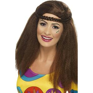 Smiffy's Women's Brown Hippy Chick Long Afro Wig with Plaited Headband
