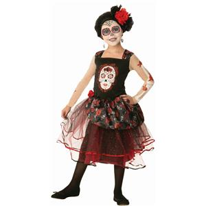Girls Day of the Dead Rosa Senorita Child Costume Dress Size Medium 8-10