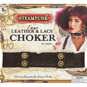 Steampunk Faux Leather Lace and Gears Choker Costume Jewelry