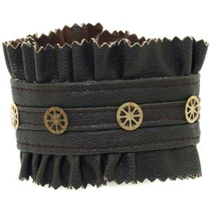 Brown Steampunk Faux Leather and Gear Studded Bracelet
