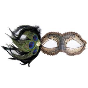 Bronze Cipriani Venetian Masquerade Eye Mask with Feathers Rhinestones and Jewel