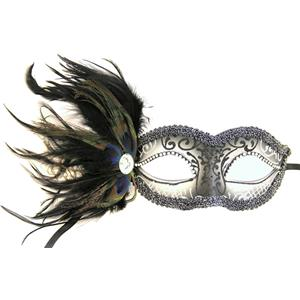 Silver Cipriani Venetian Masquerade Eye Mask with Feathers Rhinestones and Jewel