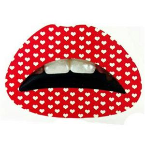 Red With Little White Hearts Print Lips Temporary Tattoo Sticker