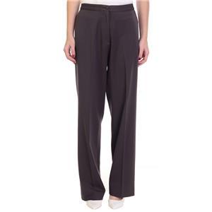 Size 6 Faconnable Dark Brown Flat Front Elegant Trouser Style Pant w/Slit Pocket