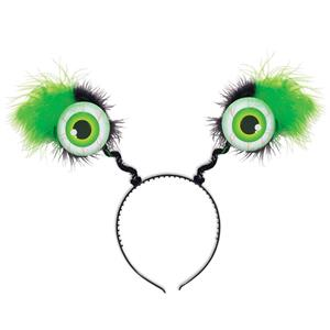 Furry Green Eyeball Boppers Headband
