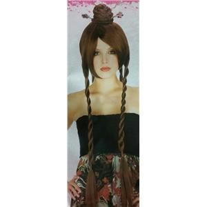 Brown Power Bun With Braids Japanese Chinese Geisha Oriental Costume Wig