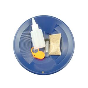 """""""Gold Rush Mining Kit"""" Real PayDirt-Blue Gold Pan-Vial-Snuffer-Tweezers-Loupe"""