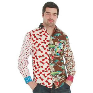 Foul Fashion Tacky Mixed Unique Material Button Long Sleeve Casual Shirt Medium