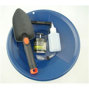 "Gold Panning Mining Kit-Blue 12""Pan-Magnet Pick Up Tool-Scoop-Free Snuffer&Vial"