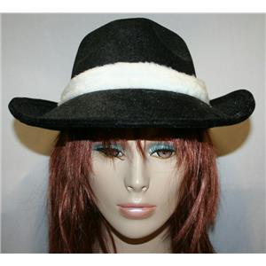 Black Flocked Fedora With White Trim and Flower Costume Hat
