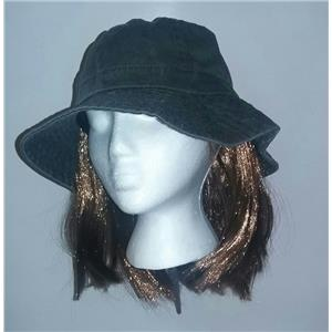 Washed Denim Cotton Bucket Hat With Attached Light Brown Hair