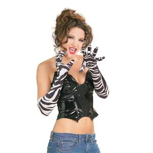 "20"" Long Black and White Zebra Print Velvet Costume Gloves"
