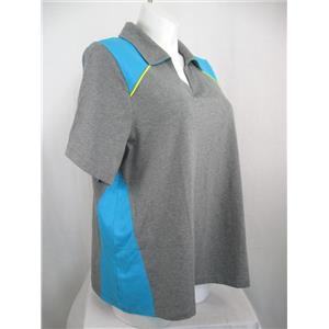 Catherines Size 1X (Petite) SS V-Neck Color Block Gray/Turquoise Top w/Collar