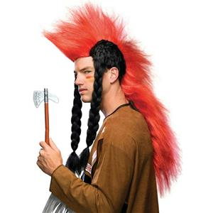 Super Red Punk Mohawk With Long Black Braids Native American Indian Wig
