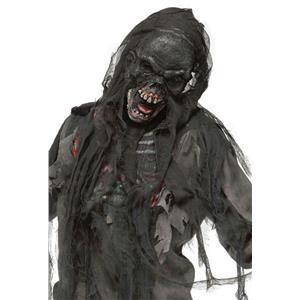 Fun World Black Burnt Burning Dead Zombie Mask with Shroud