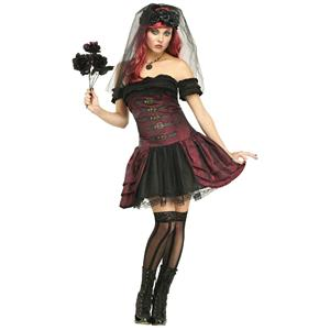 Fun World Women's Dracula Bride Vampire Queen Adult Costume Size S/M 2-8