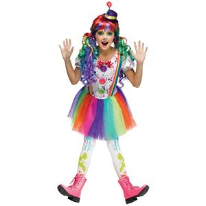 Fun World Crazy Color Clown Girls Costume Child Large 12-14