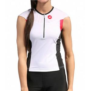 Castelli Women's Free Tri Capsleeve Top White/Black/Pink Small