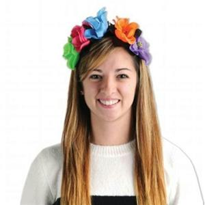 Beistle Women's Day Of The Dead Flower Headband with Skulls