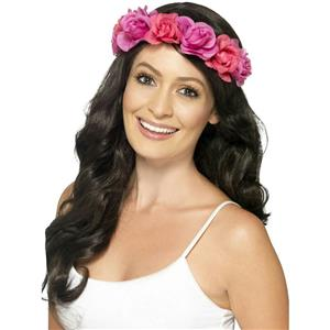 Smiffy's Women's Pink Flowers Floral Halo Headband