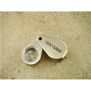 Jewlers 10X Metal Loupe Silver Metal Body Glass Lens 10X15MM