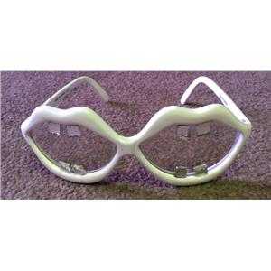 White Lips with Buck Teeth Gems Open Big Mouth Novelty Sunglasses Shades