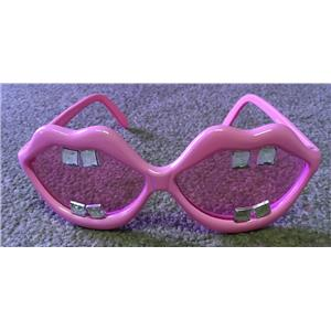 Pink Lips with Buck Teeth Gems Open Big Mouth Novelty Sunglasses Shades