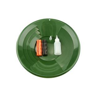 "14"" Green Gold Pan Mining Kit - Snuffer Bottle - 2 Snappy Grips-Mining"