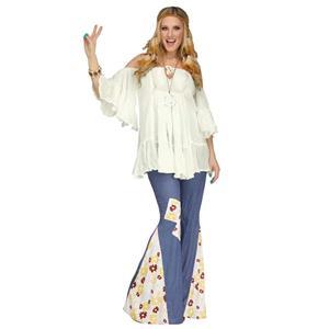 White Flowy Gauze 60s Groovy Hippie Women's Costume Shirt Off the Shoulder Top