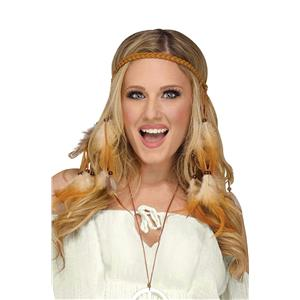 Groovy 60's Women's Tan Suede Hippie Feather Headband Costume Accessory