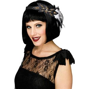 Fun World Fancy Gorgeous Gray and Black 1920's Beaded Feather Flapper Headband