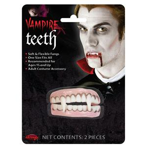 Soft Flexible Vampire Dracula Character Top and Bottom Teeth Costume Accessory