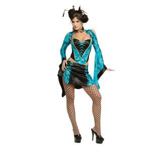 Sexy Women's Black Blue Naughty Chinese Geisha Girl Adult Costume Small 6-9